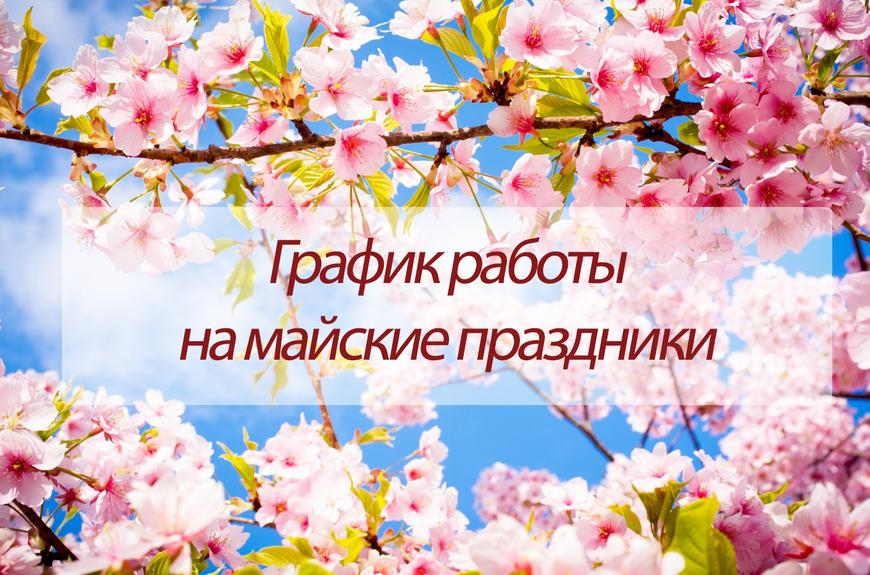 Режим работы в праздничные дни 01 - 11.05.2019 г.